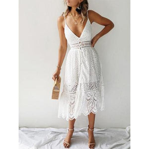 Sling Lace Stitching Cutout   Dress(Video)