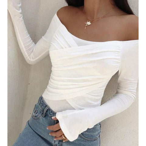 Casual Boat Neck Pure Color Long Sleeve T-Shirt