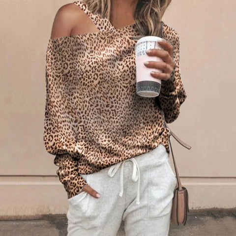 Fashion Irregular Leopard Print Bat Sleeve Knit Top
