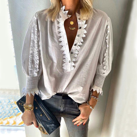 Sweet V-neck Solid Color Long Sleeve Lace Blouse