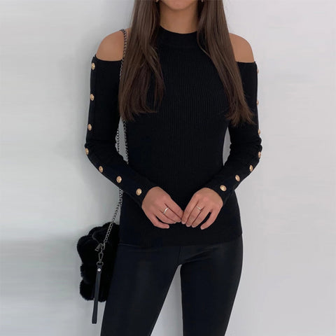Long Sleeved Solid Colors Knit Top