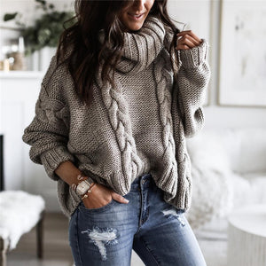 Women's casual high collar solid color sweater