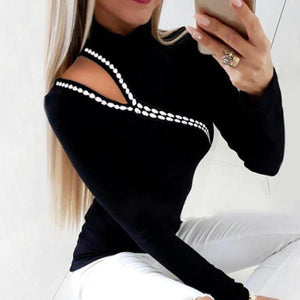 Casual Long Sleeve Cut Out Rivet T-shirt