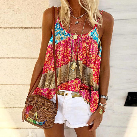 Fashion Sleeveless Printed Sling Top