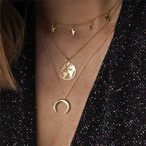 World Map Moon Crescent Alloy Pendant Multi-Layer Necklace
