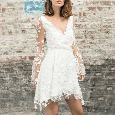 Classy V Neck Lace Embroidery Dress