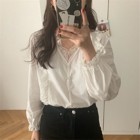 V NeckLong Sleeves Lace Shirts & Tops