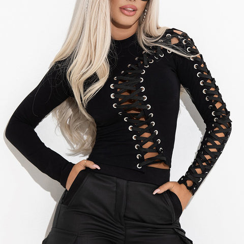 Women's Sexy Lace-up Cutout Long Sleeve Top