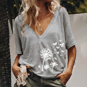 Casual V Neck Printed Short Sleeve T-shirt
