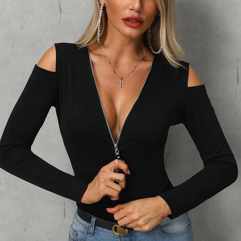 Women's Sexy Deep V-neck Strapless T-Shirt