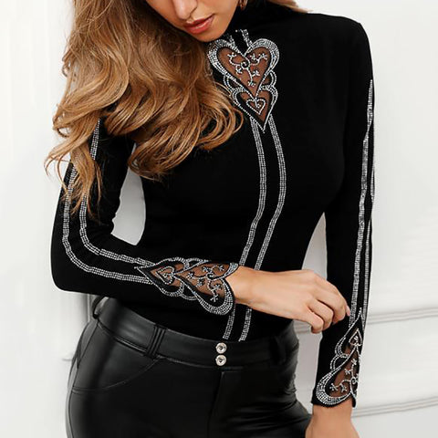 Casual High Neck Diamante Sweater
