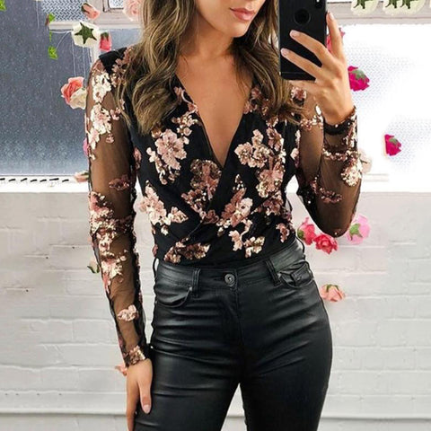 Women's Fashion Deep V-neck Floral Long Sleeve Mesh Top
