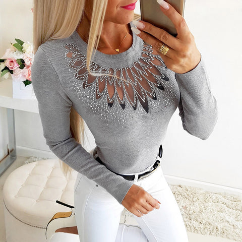 Sexy Cutout Hot Drill Long Sleeve Top