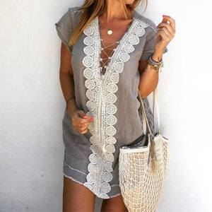 Casual V Neck Short Sleeve Lace Splicing Mini Dress