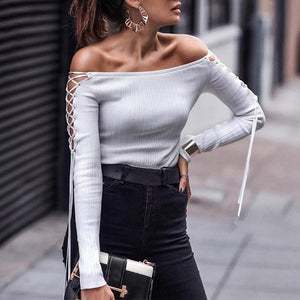 Sexy Off-the-shoulder Lacing Knit Top