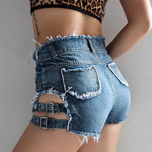 Openwork Raw Metal Buckle Denim Shorts