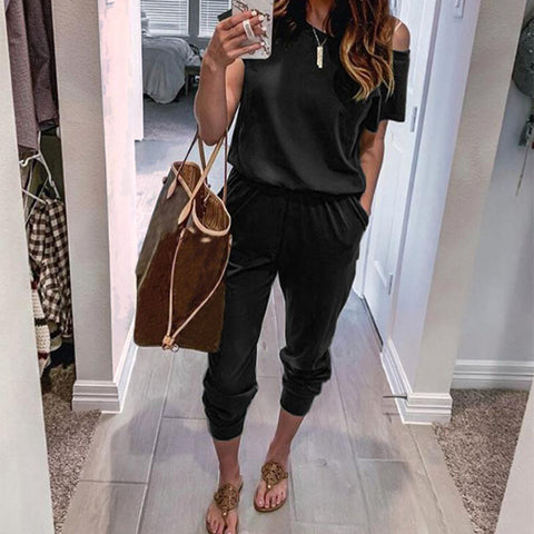 Women's Solid Color Short Sleeve Jumpsuit