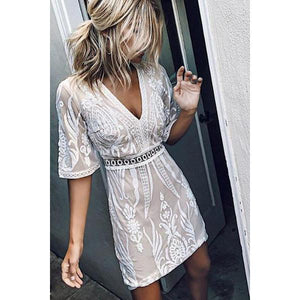 Classy V Neck Embroider Lace Dress