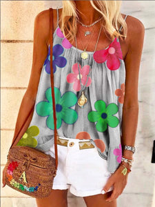 Casual Sling Pleated Flower Print Vest T-shirt