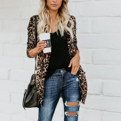 Leopard Printed  Basic Autumn Cardigans