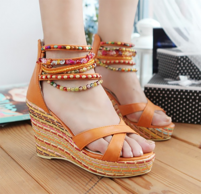 bdc6121755 Load image into Gallery viewer, Bohemian handmade beaded wedge sandals ...