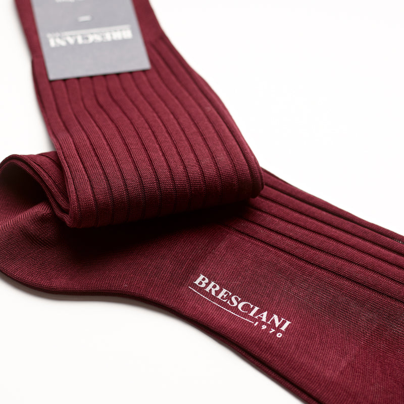 Bresciani Mens Short Sock: Merlot Red