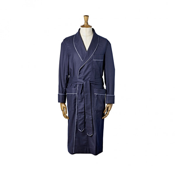 Fox Flannel Navy Dressing Gown with Striped Piping
