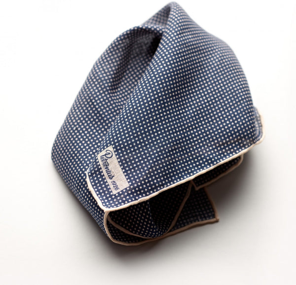 Petronius Classic Polka Dot Navy Pocket Square