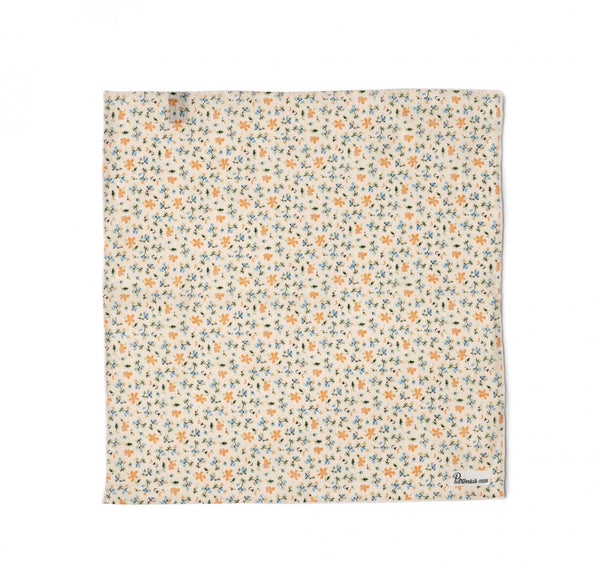 Petronius Retro Floral Pocket Square in Off White