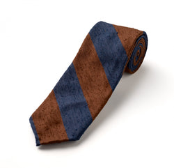 F. Marino 3 Fold Tie in Navy and Brown wide stripe
