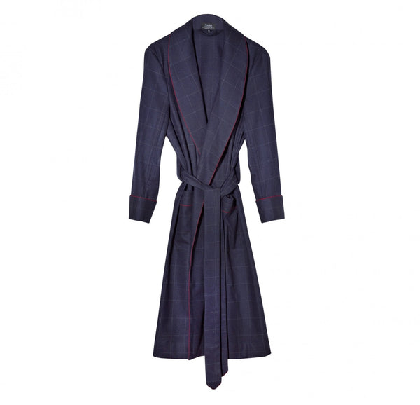 Fox Flannel Navy Windowpane Dressing Gown