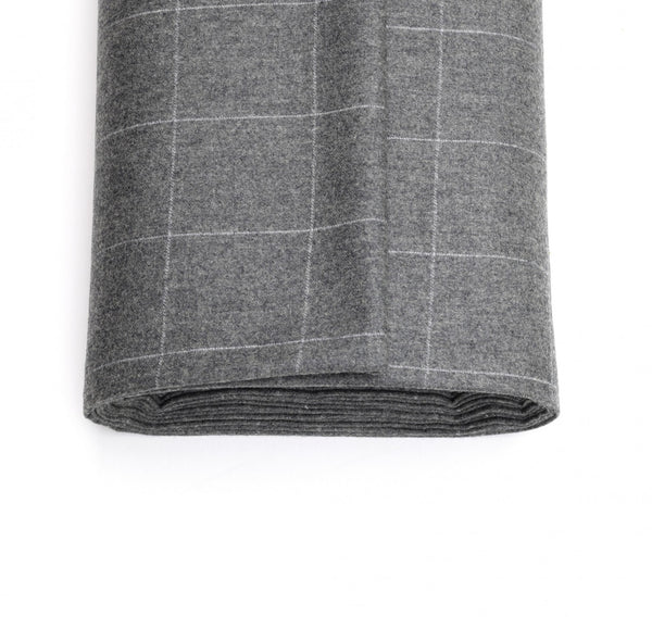 300g Mid-Grey Flannel Windowpane