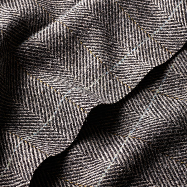 Black and Soft Grey Herringbone Windowpane Coating