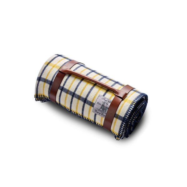 Fox-Brothers-Spring-Tattersall-Check-Wool-Blanket-Interior-Design-woven-in-Somerset-handfinished-blanket-stitched-edge-Fox-Flannel-The-Merchant-Fox-oak-bark-tanned-blanket-strap