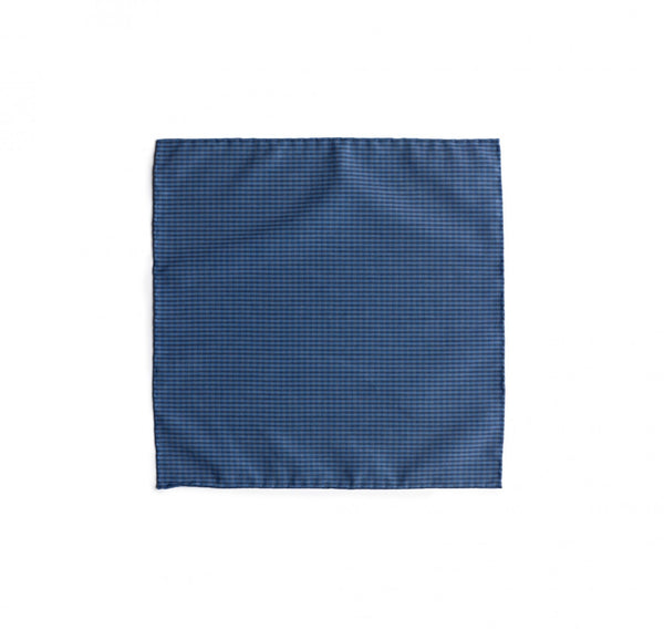 Fox Brothers Luxury 100% silk blue gingham silk pocket quare
