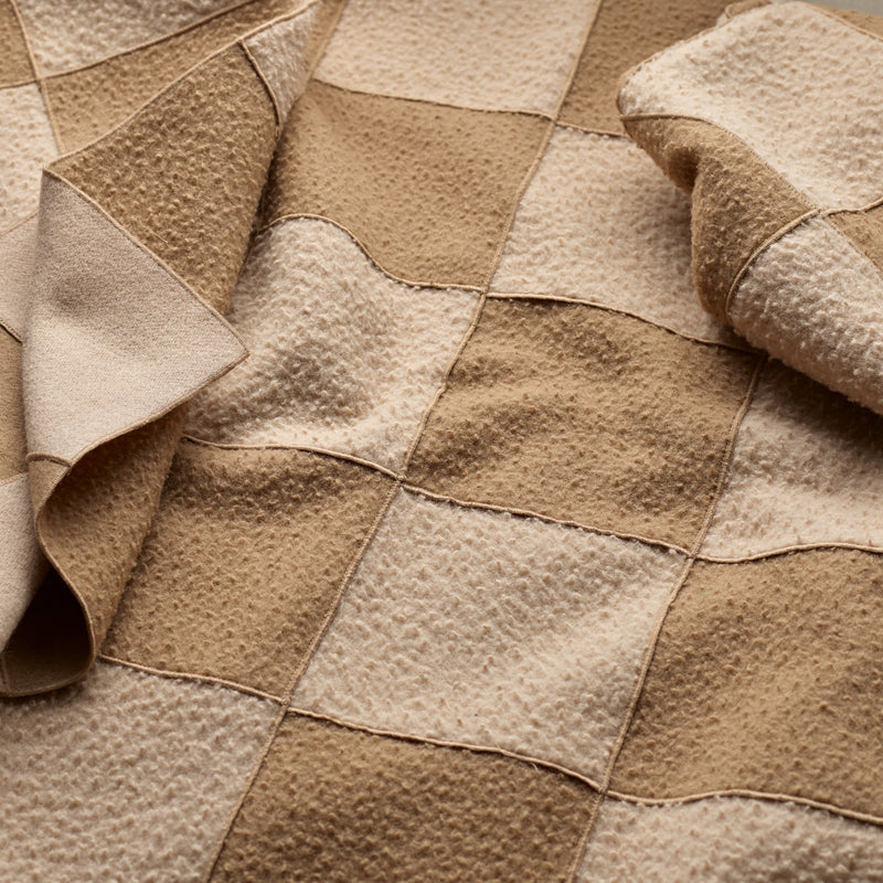 Caramel Large Wool Patchwork Blanket