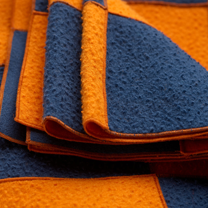 Satsuma and Sea Blue Small Wool Patchwork Blanket