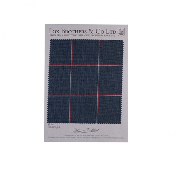 Char-Navy Worsted Double Windowpane