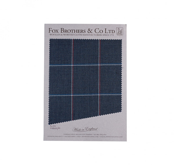 Char-Navy Worsted Windowpane