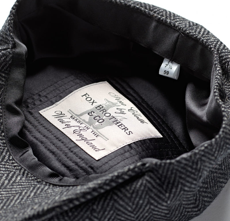 Charcoal Soft Herringbone 30's 8 panel Cap