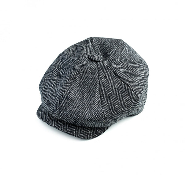 Charcoal Soft Tweed 30's 8 panel Cap