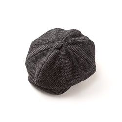 Charcoal and Black Herringbone Full Brimmed 30's 8 Panel Cap