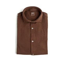 Fedeli Classic Long Sleeve Knitted Pique Polo Shirt Chocolate Brown