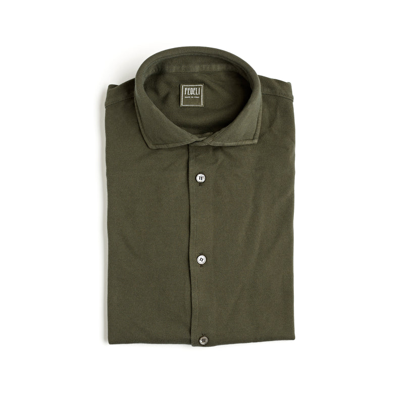 Fedeli Classic Long Sleeve Knitted Pique Polo Shirt Forest Green
