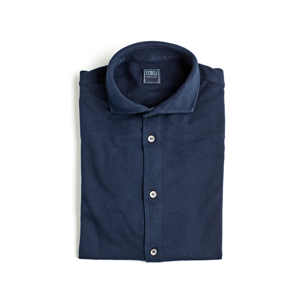 Fedeli Classic Long Sleeve Knitted Pique Polo Shirt French Navy