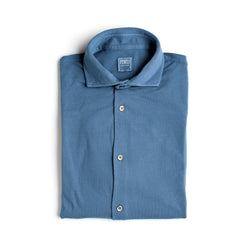 Fedeli Classic Long Sleeve Knitted Pique Polo Shirt Sky Blue
