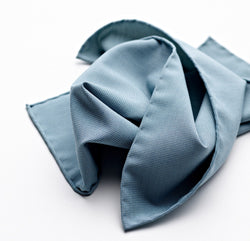 Duck Egg Blue Four-Point Star Silk Pocket Square