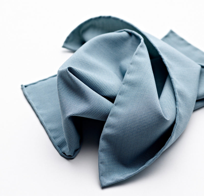 Fox Brothers Luxury Vintage 100% Silk four-point star duck egg blue pocket square