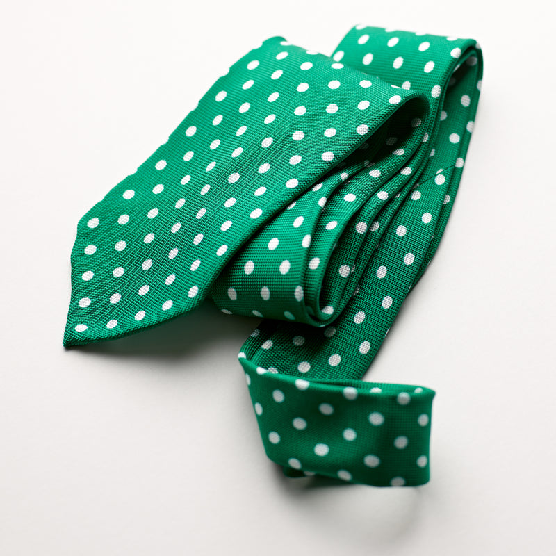 F. Marino 4 Fold Bright Green Silk Polka Dot Tie
