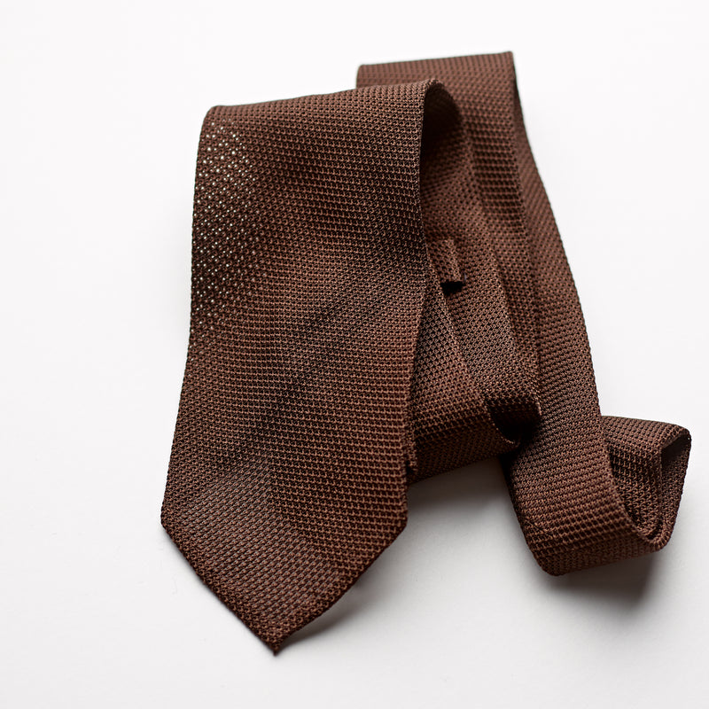 F.Marino 3 fold 100% silk brown grenadine tie